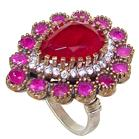 Created Ruby Turkish Sterling Silver and Brass Ring size M