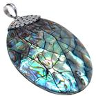Large Rainbow Abalone Sterling Silver Pendant