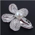 Fancy Pearl Leaf Sterling Silver Pendant