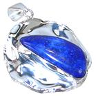 Solid Lapis Lazuli Sterling Silver Pendant