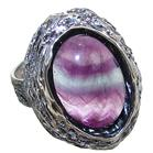 Designer Flourite Sterling Silver Ring size T Adjustable