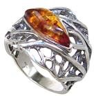 Baltic Amber Sterling Silver Ring size L