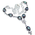 Massive Mystic Topaz Sterling Silver Necklace 16 1/2 inches long
