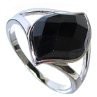 Extravagant Black Onyx Sterling Silver Ring size M 1/2