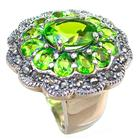 Stunning Peridot Quartz Sterling Silver Ring size L 1/2