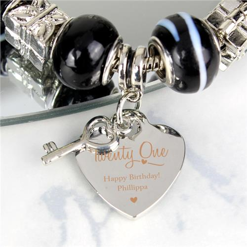 21st Birthday Personalised Engraved Charm Bracelet