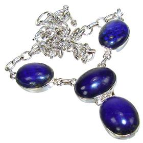 Lapis Lazuli Sterling Silver Necklace 16 inches long