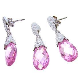 Artisan Stunning Pink Topaz Sterling Silver Set