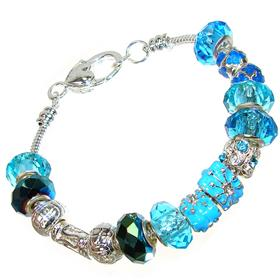 Beaded Quartz Silver Plated Bracelet