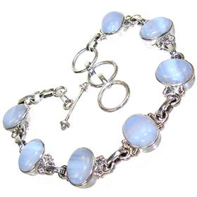 Blue Lace Agate Sterling Silver Bracelet