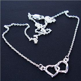 Paris Hearts Sterling Silver Necklace lenght 16 inches