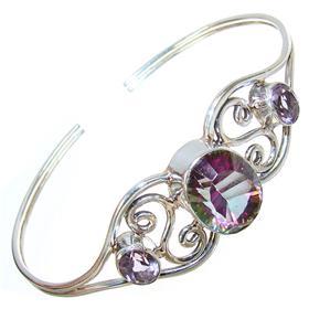Incredible Mystic Topaz Sterling Silver Bangle Bracelet