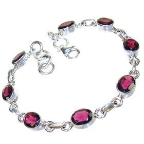 Incredible Design! Garnet Sterling Silver Bracelet