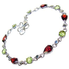 Incredible Design! Garnet Sterling Silver Bracelet