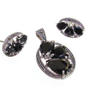Gallant Black Onyx Hearts Sterling Silver Set