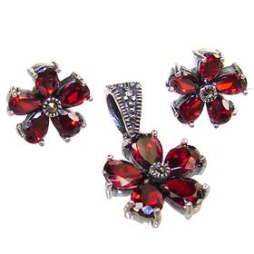 Fabulous Royal Garnet Sterling Silver Set