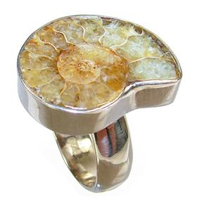 Ammonite Fossil Sterling Silver Ring size O 1/2