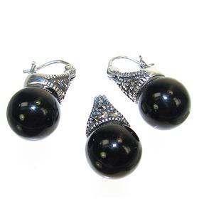 Extravagant Fabulous Black Onyx Sterling Silver Set