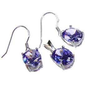 Gallant Tanzanite Quartz Sterling Silver Set