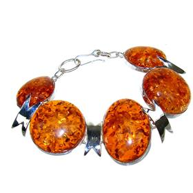 Large Honey Amber Sterling Silver Bracelet