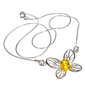 Honey Amber Sterling Silver Necklace 15 inches long