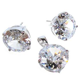 Charming White Topaz Quartz Sterling Silver Set