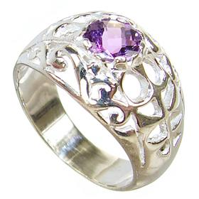 Amethyst Sterling Silver Ring size P 1/2