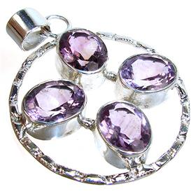 Large Royal Amethyst Sterling Silver Pendant