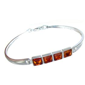 Honey Amber Sterling Silver Bracelet