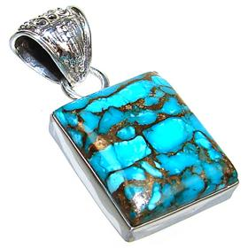 African Turquoise Sterling Silver Pendant