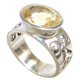 Artisan Citrine Sterling Silver Ring size M 1/2