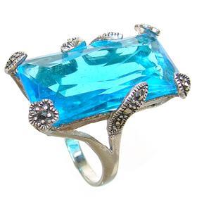 Blue Quartz Sterling Silver Ring size O