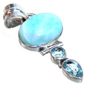 Charming Larimar Sterling Silver Pendant