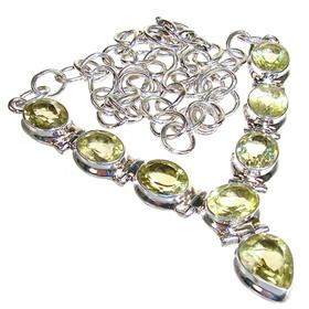 Terrific Citrine Sterling Silver Necklace 16 inches long