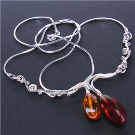 Honey Amber Sterling Silver Necklace 17 inches long