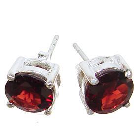 Splendid Garnet Sterling Silver Earrings
