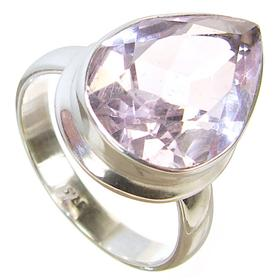 Pink Quartz Sterling Silver Ring size N 1/2