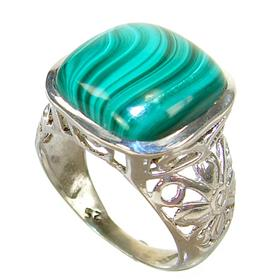 Malachite Sterling Silver Ring size N