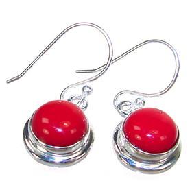 Red Coral Sterling Silver Gemstone Earrings