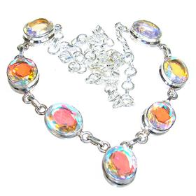 Madagascar Fire Quartz Sterling Silver Necklace 17 inches long
