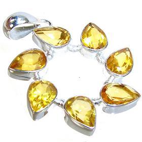 Sunny Citrine Sterling Silver Gemstone Pendant