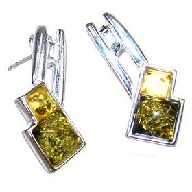 Elegant Honey Amber Sterling Silver Earrings