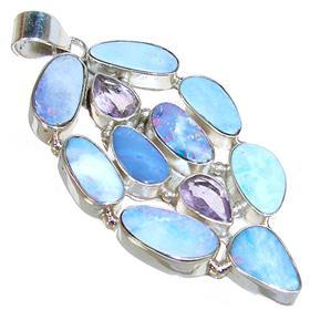 Large Fire Opal Sterling Silver Pendant