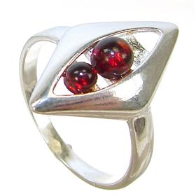 Honey Amber Sterling Silver Gemstone Ring size M 1/2