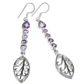 Long Amethyst Sterling Silver Earrings