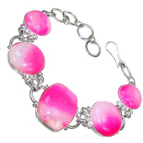 Pink Candy Botswana Agate Sterling Silver Bracelet