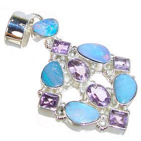 Rare! Fire Opal Sterling Silver Pendant