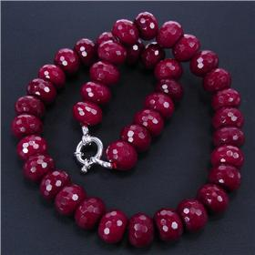 Eye-catching Ruby Sterling Silver Necklace 16 inches long