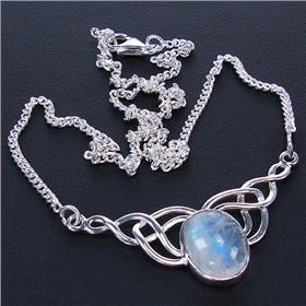 Elegant Moonstone Sterling Silver Necklace 15 inches long