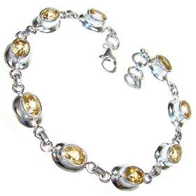 Fantastic Genuine Citrine Sterling Silver Bracelet